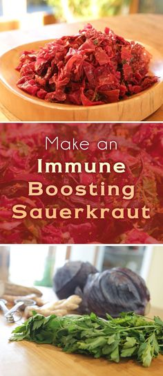 Support your immune system by incorporating healthy ingredients into your sauerkraut - ginger, turmeric, red cabbage, horseradish, parsley and black pepper. Probiotic Foods, Fermented Foods, Healthy Drinks, Healthy Recipes, Fermentation Recipes, Sauerkraut Recipes, Vegetarian Cabbage, Paleo, Salad Recipes