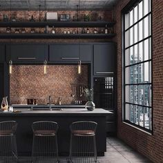 Architecture House City The best Luxury kitchen - Las mejores cocinas Industrial Interior Design, Interior Design Photos, Industrial House, Interior Design Living Room, Vintage Industrial, Industrial Chic Decor, Industrial Decorating, Industrial Kitchens, Industrial Lamps