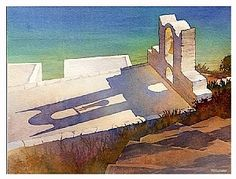greek church by Thomas W. Schaller Watercolor ~ 11 inches x 17 inches