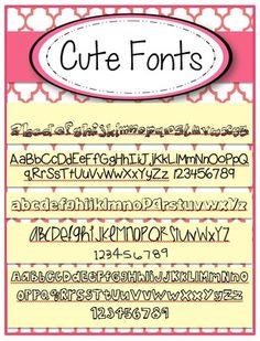 Cute Fonts FREE set of 5 |