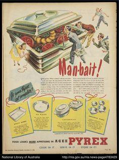 """Pyrex as """"man bait!"""" 1948"""