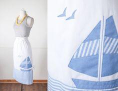 1970s SAILBOAT Skirt / Novelty Print Skirt / by BlueHorizonVintage