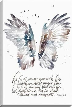 He Will Cover You With His Feathers, Psalm 91:4, Canvas Art - By: Ruth Chou Simons