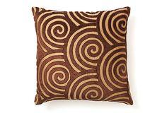 Hand-Embroidered Silk Pillow, Chocolate on OneKingsLane.com