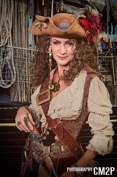 A real pirate never leaves home without their Tall Toad pirate hat. Pirate Garb, Pirate Wench, Pirate Woman, Lady Pirate, Pirate Life, Renaissance Pirate, Renaissance Clothing, Adult Costumes, Halloween Costumes