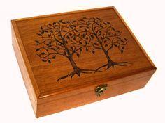 Two Trees, One Heart Mahogany Keepsake Box: 5th Anniversary Gift, Wedding Card Box, Guest Book Alternative, Wedding Memory Box