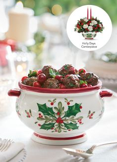 Buddy Valastro's Christmas Meatballs go perfectly in Teleflora's Holly Days Centerpiece Christmas Flower Arrangements, Christmas Table Centerpieces, Christmas Flowers, Cranberry Recipes, Holiday Recipes, Christmas Recipes, Cake Boss Family, Christmas Cooking, Christmas Eve