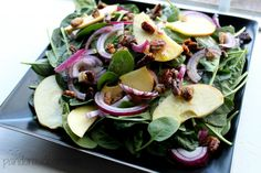 Spinach Apple Salad With Curried Pecans & Maple Cider Dressing