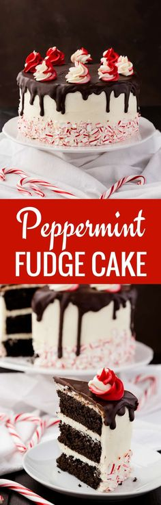 Peppermint Fudge Cake is one of the best Christmas desserts. Fudgy chocolate cake layered with peppermint buttercream and chocolate ganache.--full recipe on bakedbyanintrovert.com #peppermint #fudge #cake #Christmas #baking via @introvertbaker