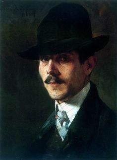 Nikolaos Lytras (Greek: 1883-1927) - Portrait of painter Oumvertos Argyros (1903)