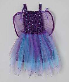 Purple & Blue Bella Fairy Dress & Wings - Girls