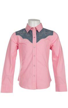 Cumberland Outfitters® Girl's Light Pink with Denim Yokes & Rhinestones Long Sleeve Western Shirt
