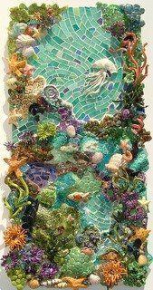 Ocean Mosaic Panel by Mi Tesserae - glass and ceramic mixed media mosaic