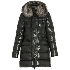 Moncler Aphrotiti fur-trimmed down coat (20.180 CZK) ❤ liked on Polyvore featuring outerwear, coats, green, down coat, green coats, fur trimmed down coat, fur-trimmed coat and moncler coat