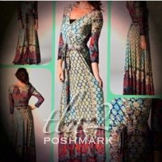 """6th REORDER!💥3X HP💥MOROCCAN  MOSAIC MAXI Always perfect for any occasion, this multi print, faux wrap dress is stunning. 96% polyester/4% spandex, wrinkle resistant! Excellent travel piece. NWOT.                                                                        ♦️1X: bust 40"""" waist 34"""" stretches to 40""""              ♦️2X: bust 42"""" waist 36"""" stretches to 42""""            ♦️3X: bust 44"""" waist 38"""" stretches to 44""""      🔵LAST PHOTO ARE TRUE COLORS OF THIS DRESS. STOCK PHOTOS ARE DARKER…"""
