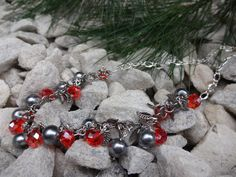 Red and Silver Necklace Handmade Jewelry Glamour by YoursTrulli, $24.00