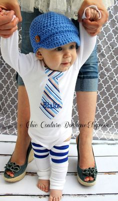 Baby Boy Personalized Tie Bodysuit & Leg Warmers.   Stripes of Shades of Blue, Baby Blue, Navy Blue, Sapphire, Royal Monogram, Orange.