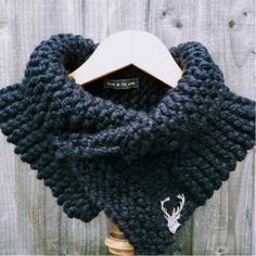 Chunky Cowl Scarf by Hurd & Co. Luxurious black chunky knit cowl style scarf, with branded leather tag, an ideal gift. Cowl Scarf, Knit Cowl, Chunky Knitwear, Country Outfits, Scarf Styles, Womens Scarves, Knitting, Stylish, My Style