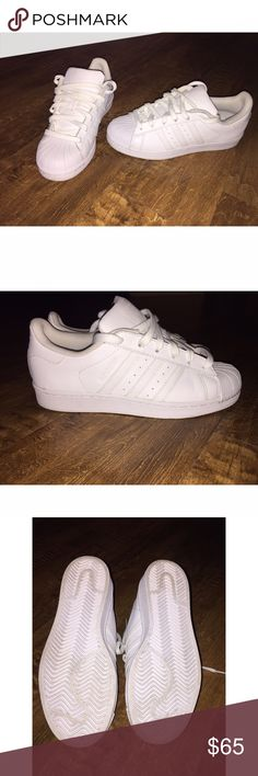 All White Adidas Superstar All White Adidas Superstar. Worn once indoors. Very good condition. Size 6 1/2. Adidas Shoes Athletic Shoes