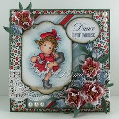 Featuring 'Moulin Rouge Tilda' from Magnolia Stamps.  #MagnoliaStamps #crafts #cards #DIY #handmadecard #cardmaking #rubberstamping #promarkers #paperflowers