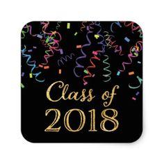 Class of 2018 Celebration Confetti Stickers - graduation gifts giftideas idea party celebration