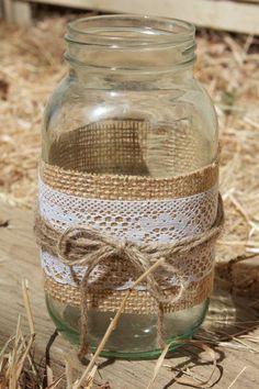 Lace & Burlap Mason Jar Candle Holder-  Quart Size