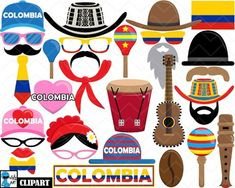 Colombia Props - Clip Art Digital Files Personal Commercial Use Clipart, Teaching Culture, Colombian Culture, Culture Day, Ideas Para Fiestas, Cupcake Toppers, Photo Booth, Spanish Teacher, Diy And Crafts