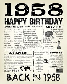 60th Birthday 1958 Fun Facts 1958 for Husband Gift for