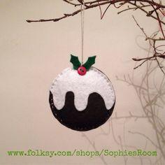 Handmade Felt Christmas Pudding Tree Decoration £4.50