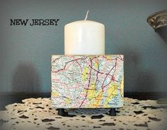 Candle Holder Altered Map New Jersey Map by LilyGraceInspired