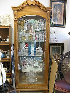 Pulaski Curved Glass Lighted Curio Cabinet Hutch Storage