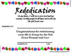 Rededication certificate More