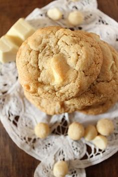 White Chocolate Chip Cookies with Salted Macadamia Nuts.