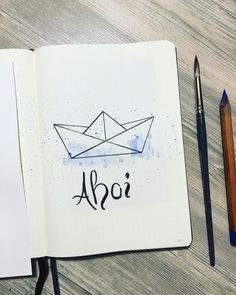 Paper boat drawing, bullet journal drawing ideas. @reijournal