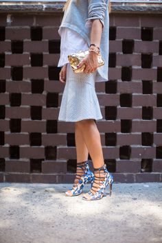BCBG Runway Tauriel Shirt BCBG Runway Dominik Skirt  Aquazzura Amazon Snakeskin Lace Up Heels Benedetta Bruzziches Cabaret Hammered Bag in Gold                                                              www.songofstyle.com