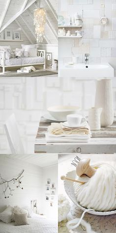 LOVE the patchwork shades of white tile wall in the top right!  {Blogs I Love} My Black Book