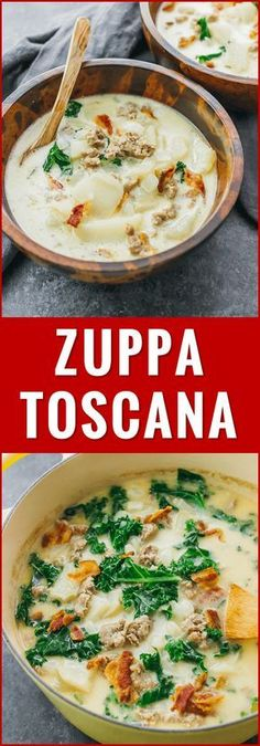 """Zuppa toscana or """"Tuscan soup"""" is a comforting Italian soup with kale, potatoes, onions, cream, and garlic. soup olive garden, healthy, recipe, whole 30, low carb, paleo, easy, copycat, stovetop, skinny, best, light, keto, damn delicious, pioneer woman, copy cat, dutch oven, weight watchers, lighter, on stove, authentic, homemade, with bacon, clean, quick, creamy, spicy, simipily, healthier, calories, sausages, dinners, families, love, at home, meals, dishes, bowls, restaurant..."""