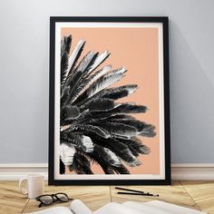 Palm Tree - Coral Pink - East End Prints