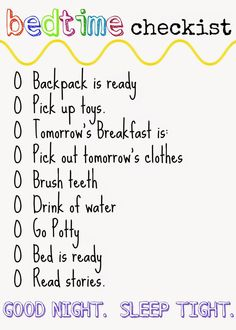 Bedtime FREE Printable Checklist : The Chirping Moms