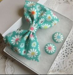 Handmade Hair Bow And Matching Earrings Cotton Fabric $14