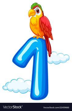 One parrot on sky template vector image on VectorStock Farm Animals Preschool, Numbers Preschool, Learning Numbers, Math Numbers, Preschool Worksheets, Preschool Activities, Forest Cartoon, Adobe Illustrator, Flashcards For Kids