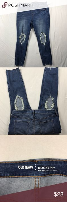 """Old Navy Rockstar Jeans Jeggings Distressed Size 16  Distressed Stretch  Ankle Unfinished hem Size 16 Distressed Stretch Ankle Waist-18"""" Inseam-26"""" Rise-11"""" BB50 Old Navy Jeans Ankle & Cropped"""