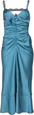Ruched roset dress in turquoise from Nina Ricci. This silky dress has a seam detailed bust with a sweetheart neckline, thin straps, and a ruched vertical center. The back has a black lace strap across the shoulder straps, paneling, and ruching along the exposed back zip closure. Comes with Nina Ricci hanger. French size 36  - UK SIZE 6-8  OP €1 735,00