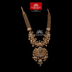 Striking Graceful Traditional Necklace This striking neckpiece is enough to compliment any traditional wear. The precious stones in this Pachi work necklace is detailed with gold work further beautified with micropearls. Gold Temple Jewellery, Gold Wedding Jewelry, Gold Jewellery Design, Gold Jewelry, Ruby Necklace Designs, Necklace Online, Unique Earrings, Gold Necklaces, Jewellery Bracelets
