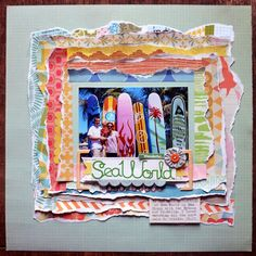 layout with layered torn paper