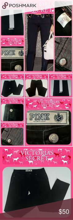 "Victoria's Secret *PINK Skinny Black Jeans {Sz 6S} ** Victoria Secret *PINK*  black skinny jeans **  ~Super CUTE VS Pink logo details throughout  ~ Feminine and flirty  Inseam 30"" Size 6S  This jeans washed once in gentle cycle... In new condition.  Also, I have another pair just like this one in size 4S also black Victoria Secret Victoria's Secret Jeans Skinny"