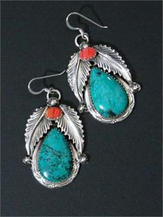 Native American Navajo Indian Turquoise Dangle Earrings | | repinned by www.blucats.com