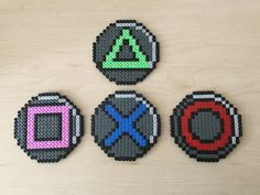 Playstation Button Coaster Set Hama Beads by BeadsByGeeks