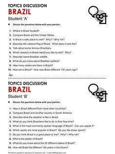 Brazil, English, Learning English, Vocabulary, ESL, English Phrases, http://www.allthingstopics.com/brazil.html