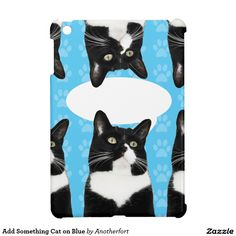 Add Something Cat on Blue iPad Mini Cover. Click on link then scroll to find your phone or device #iphone #case #cute #galaxy